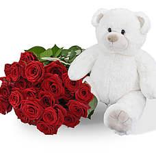 Witte knuffel 45cm! Met 25 rode rozen