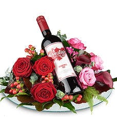 Flower arrangement with Red prestige wine