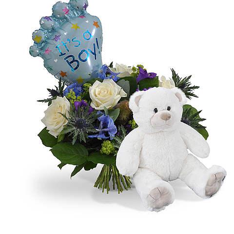 Geboorte jongen + ballon standaard + witte knuffel Standaard