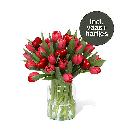 Rode Tulpen incl. vaas + hartjes