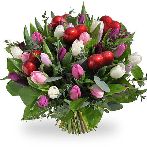 Pastel tulpen met hartjes XL