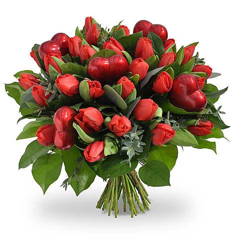 Rode tulpen met hartjes XL