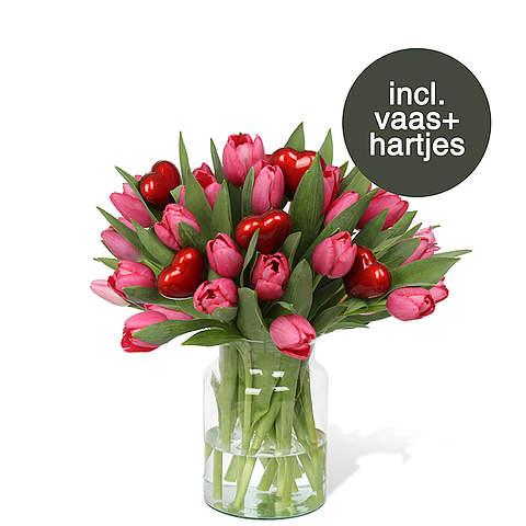 Roze Tulpen incl. vaas + hartjes
