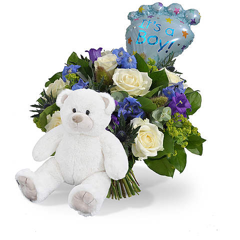 Bouquet Its a boy balloon standard + White teddy large