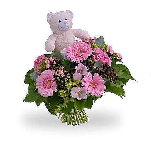 Girl bouquet standard with teddybear