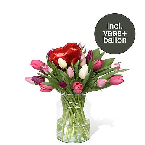 Pastel Tulpen  incl. vaas + ballon