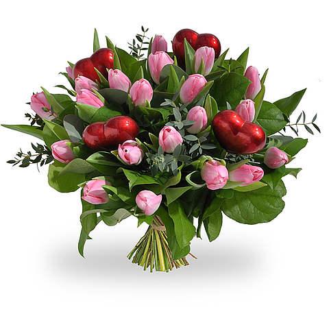 Roze tulpen met hartjes groot
