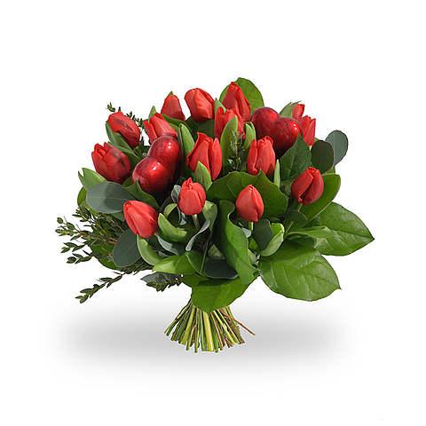 Rode tulpen met hartjes standaard