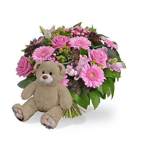 Girl bouquet large + brown teddy