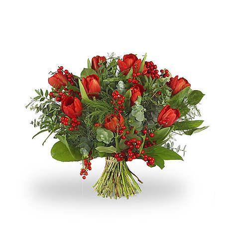 Kerstboeket rode tulpen standaard