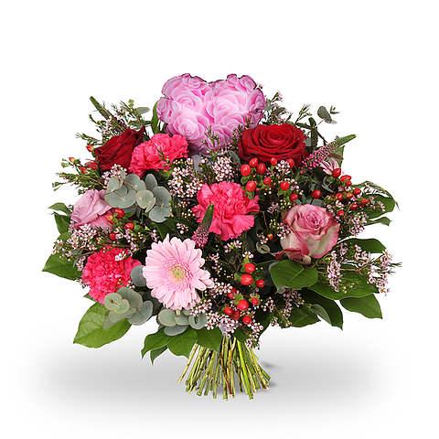 Boeket Love hart roze standaard