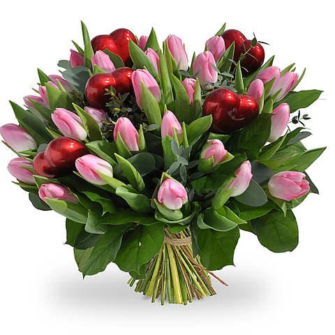 Roze tulpen met hartjes XL