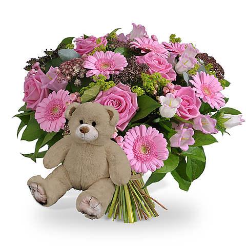 Girl bouquet XL + brown teddy