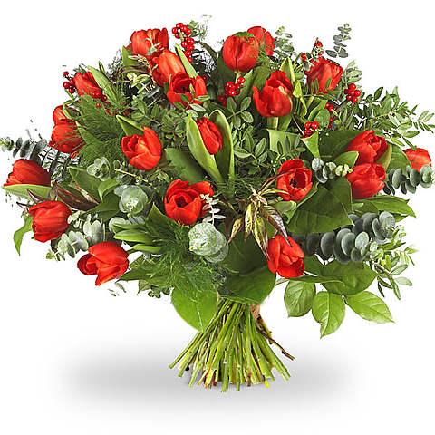 Kerstboeket rode tulpen XL