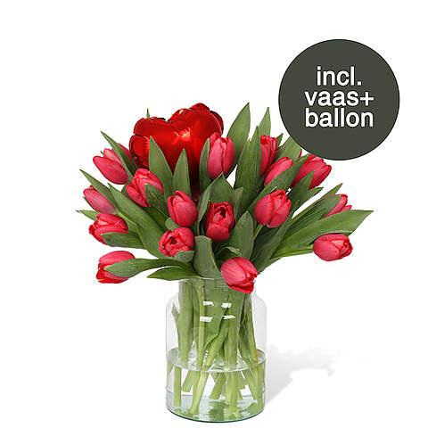 Rode Tulpen incl. vaas + ballon