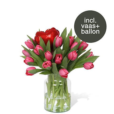 Roze Tulpen incl. vaas + ballon
