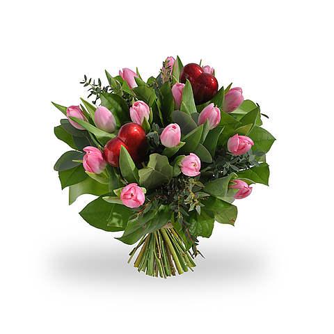 Roze tulpen met hartjes standaard