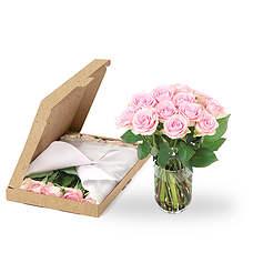 Roze rozen brievenbus