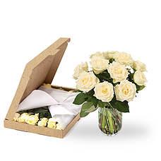 Witte rozen brievenbus