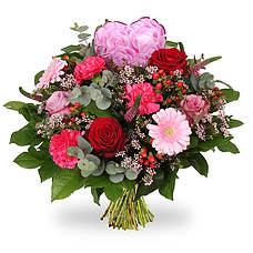 Boeket Love hart roze