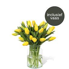 Gele tulpen incl. vaas