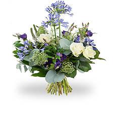 Blue purple white bouquet