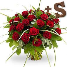 Rode rozen met chocoladeletter