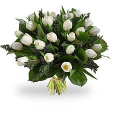 Boeket witte tulpen
