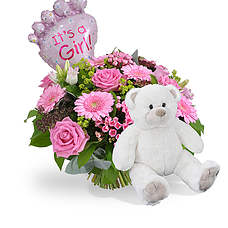 Baby girl bouquet with balloon and teddy 45cm