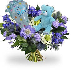 Baby boy bouquet with balloon and teddy