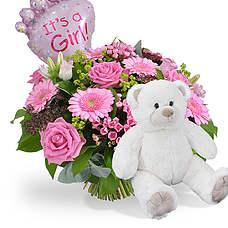 Geboorte meisje + ballon en witte beer 45cm