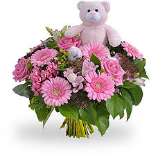 Baby girl bouquet with teddy 15cm