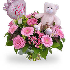 Baby girl bouquet ballon and teddy