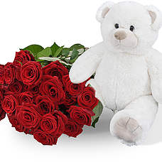 White teddy 45cm + 25 red roses