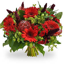 Red green bouquet