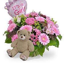 Geboorte meisje + ballon en bruine beer 35cm
