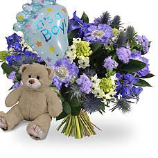 Geboorte jongen + ballon + bruine beer 35cm