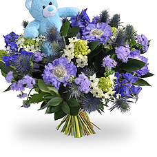 Baby boy bouquet with teddy