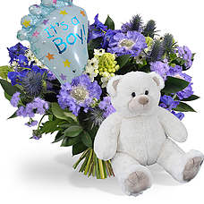 Baby boy bouquet with balloon and teddy 45cm