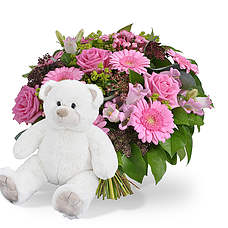 Girl bouquet with teddy 45cm