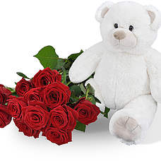 Witte knuffel 45cm! met 10 rode rozen