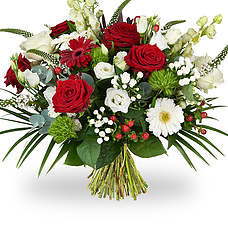 White red green bouquet