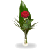1 Red rose with greens and vase