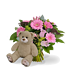 Girl bouquet standard + brown teddy